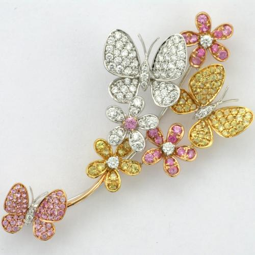 18k white, yellow and rose gold butterfly and flower motif brooch