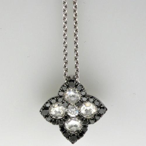 18K White gold pendant featuring black