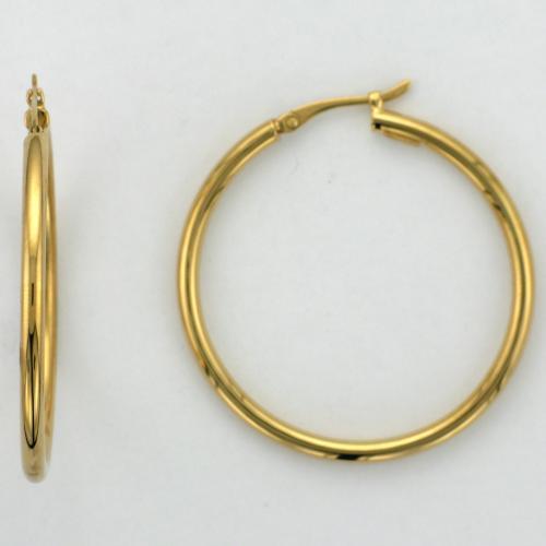 18k yellow gold hoop style earring