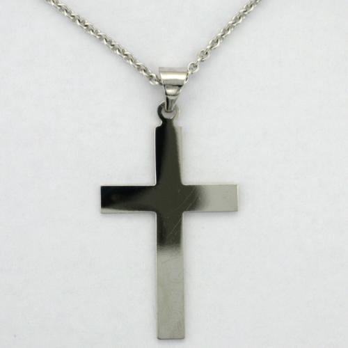 14k white gold cross style pendant