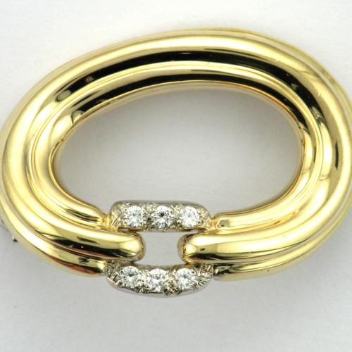 14k yellow and white gold oval brooch
