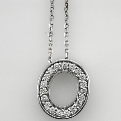 14k White gold O Pendant