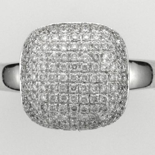 18k White gold ring featuring pave' set round brilliant cut diamonds weighing .54ct. total weight