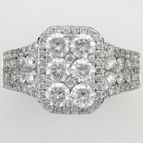 18k White gold ring featuring 108 round brilliant cut diamonds weighing 2.15ct. total weight