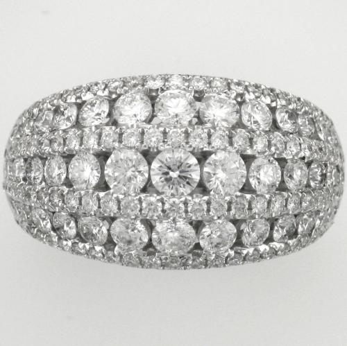 18k White gold ring featuring 145 round brilliant cut diamonds weighing 3.00ct. total weight