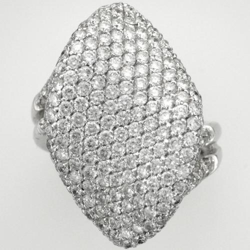18k White gold ring featuring 339 round brilliant cut diamonds weighing 5.14ct. total weight