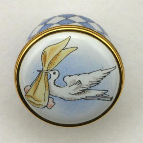 Staffordshire Enamels baby boy box with stork.