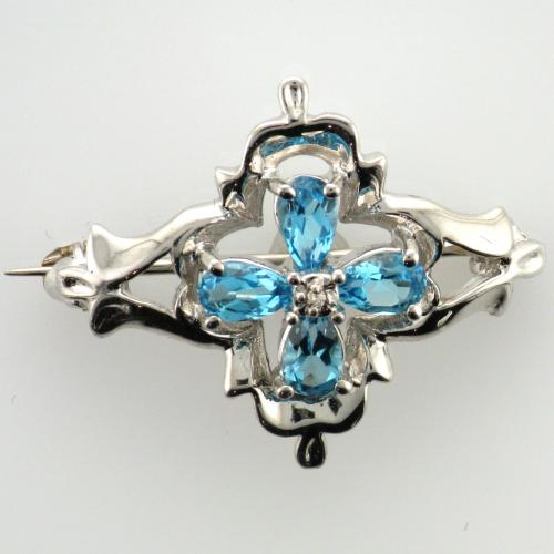 14k White gold brooch