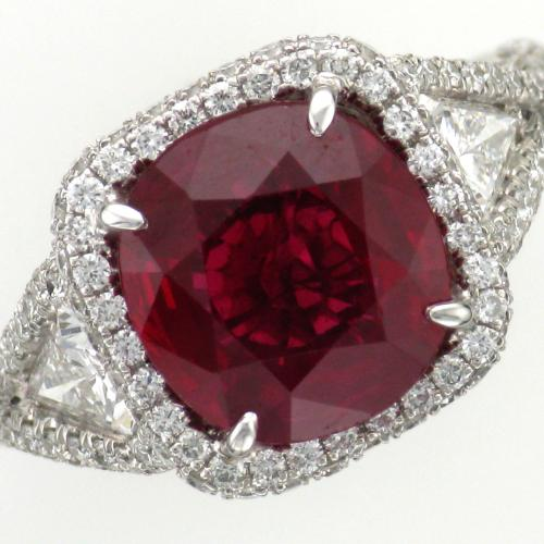 Ladies platinum ruby and diamond ring