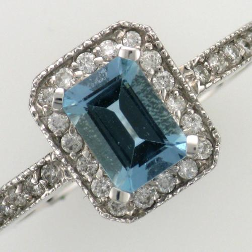 14k white gold aquamarine and diamond ring.