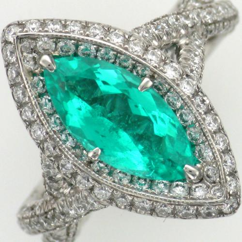 Ladies platinum paraiba tourmaline and diamond ring