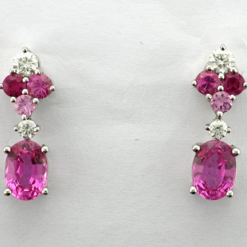 18k white gold post pierced friction style back earrings