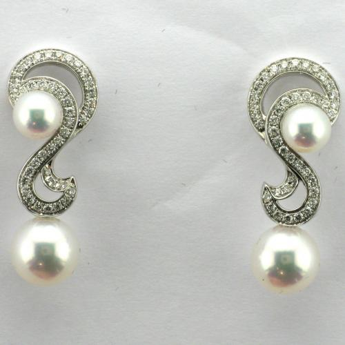 14K White gold post pierced friction style back Mikimoto earrings
