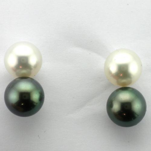 14K White gold post pierced friction style back earrings