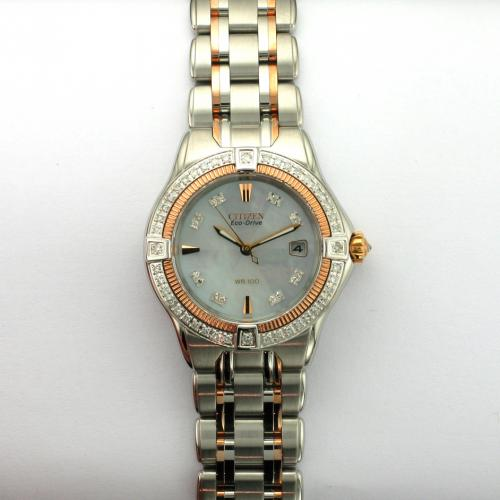 Ladies two tone stainless steel Citizen Eco-Drive wrist watch
