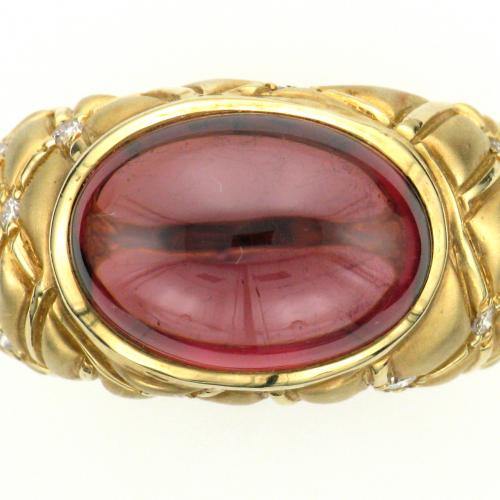 18k yellow gold ring bezel set