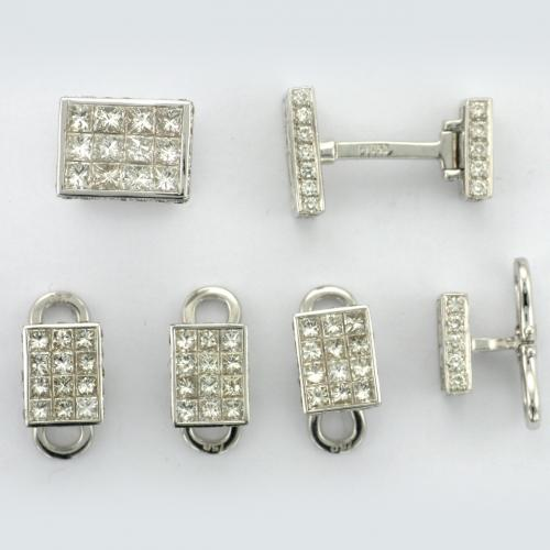 Platinum and 18k white gold cuff links