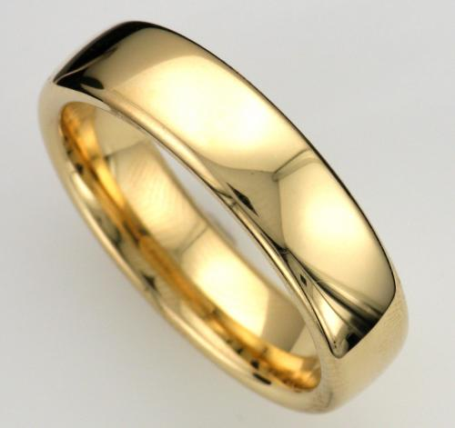 18k yellow gold slightly domed style wedding band measuring 6mm wide with a high polished finish.