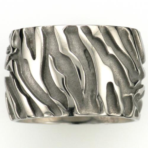 Ladies Titanium 16mm wide ring with zebra pattern engraving.